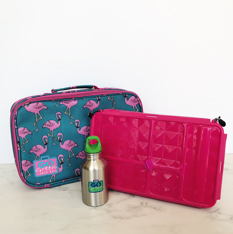GO GREEN  Original Lunch Box Set LARGE- Flamingo