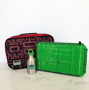 GO GREEN  Original Lunch Box Set LARGE- green Pacman