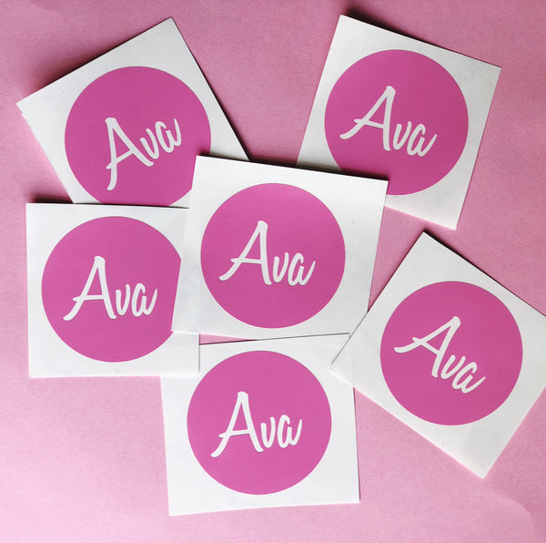 Round Personalised Name Label 6.5cm - Value Set  of 6