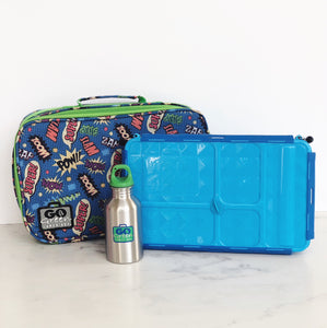 GO GREEN  Original Lunch Box Set LARGE-  blue Superhero