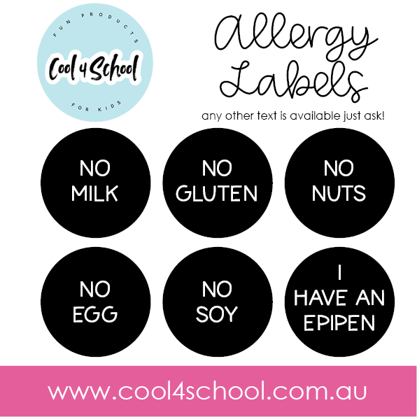 Lunch Box Allergy Alert Labels