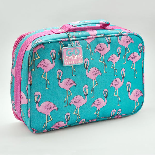 go green large set pink lunchbox flamingo