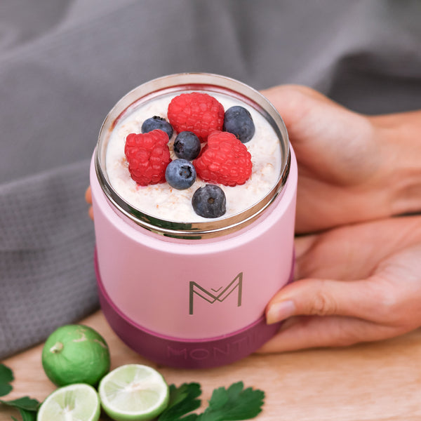 montiico insulated food jar dusty pink