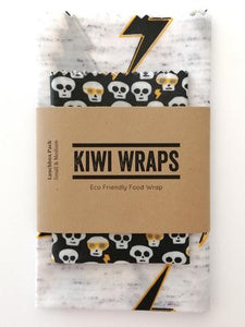 Kiwi Wrap - Lightning Bolt and Skulls - Lunch Pack small + medium wraps