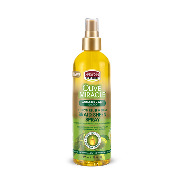 African Pride Olive Miracle Sheen Spray - Anti Breakage (12 oz)