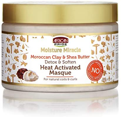African Pride Moisture Miracle Moroccan Clay & Shea Butter Heat Activated Masque (12oz) - empress mane