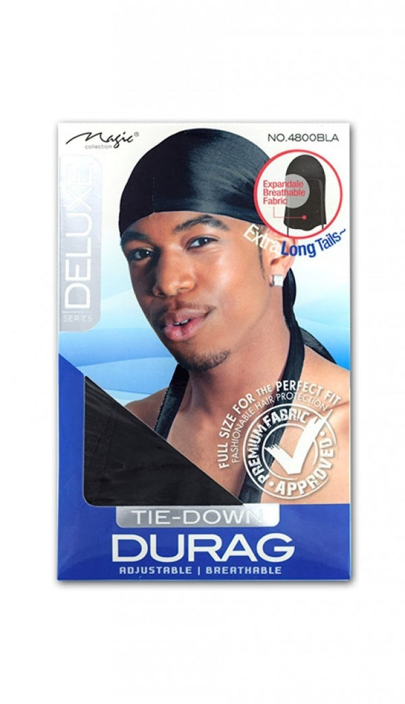 Magic Collection Deluxe Tie-Down Durag NO.4800BLA - empress mane