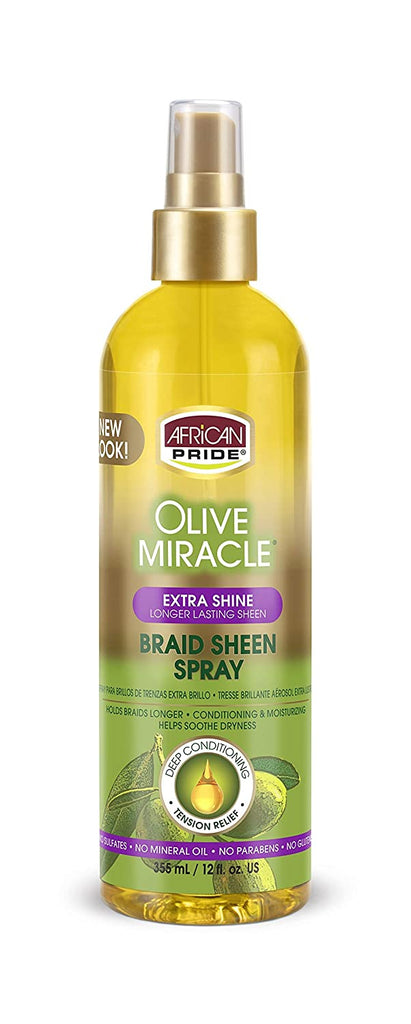 African Pride Olive Miracle Braid Sheen Spray - Extra Shine (12 oz)
