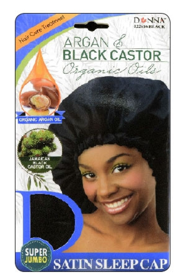 Donna Argan & Black Castor Oil Organic Oils Satin Sleep Cap (Super Jumbo)