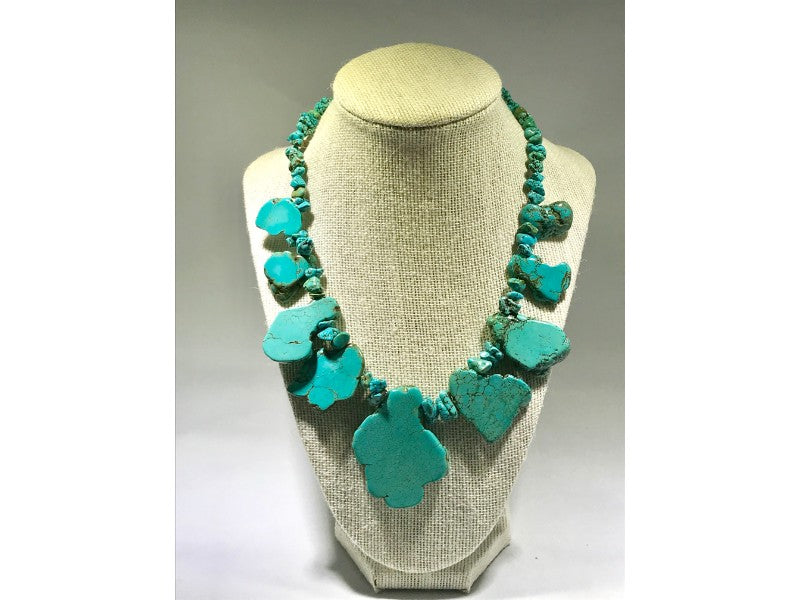 Turquoise Large Rough Nugget STATEMENT Collectible Necklace