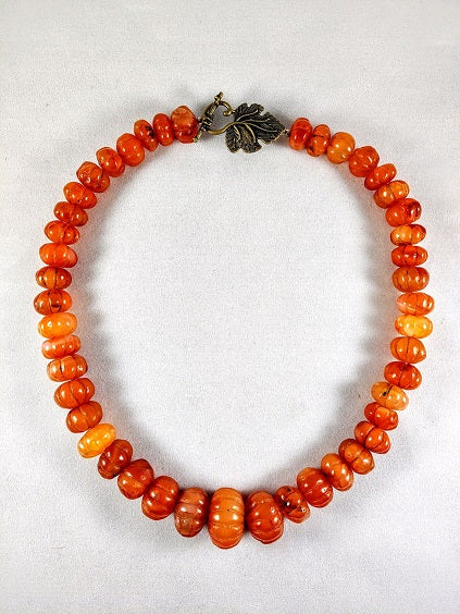 Carnelian Carved Large Stones Graduated Necklace 20""