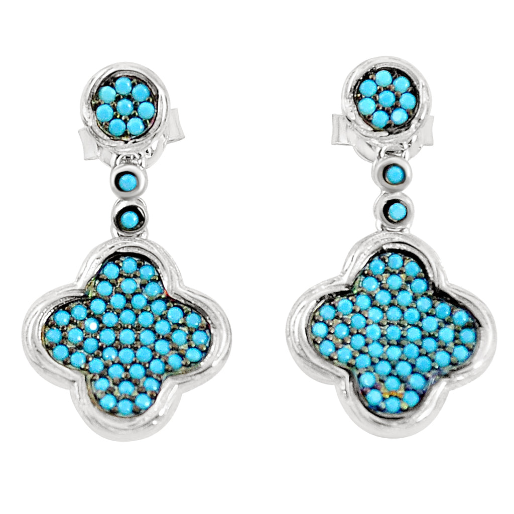 Turquoise Earrings - Micro Pave Sleeping Beauty Turquiose