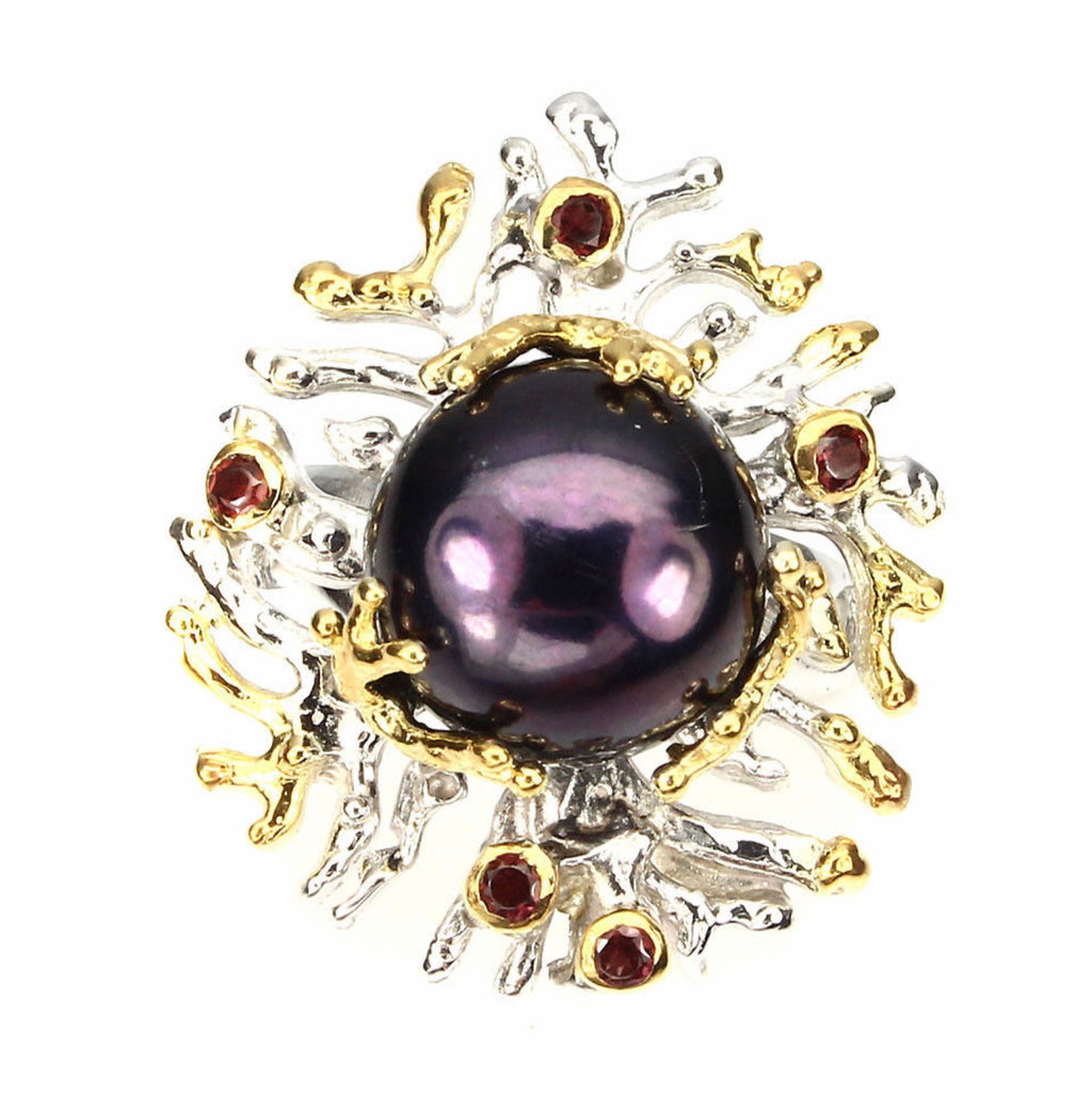 Pearl Ring -  (HUGE Black Tahitian Pearl) and Rhodolite Garnet Ring - Pisces Secrets LLC