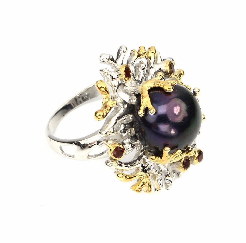 Pearl Ring -  (HUGE Black Tahitian Pearl) and Rhodolite Garnet Ring