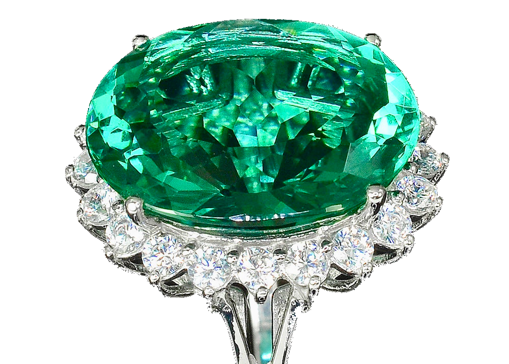 Apatite - Blue Green Paraiba Apatite 11 CT Ring - White Zircon Halo - Pisces Secrets LLC