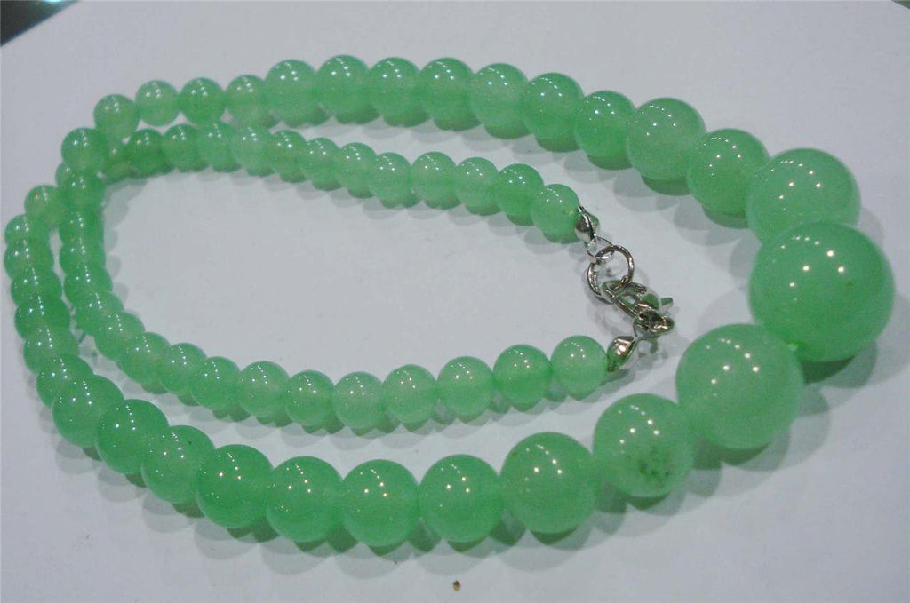 Emerald Necklace (Round Light Green Graduated 6-14 mm Beads)