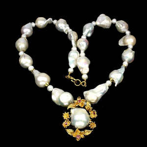 "Pearl Baroque White 20"" Necklace with Ruby Halo"