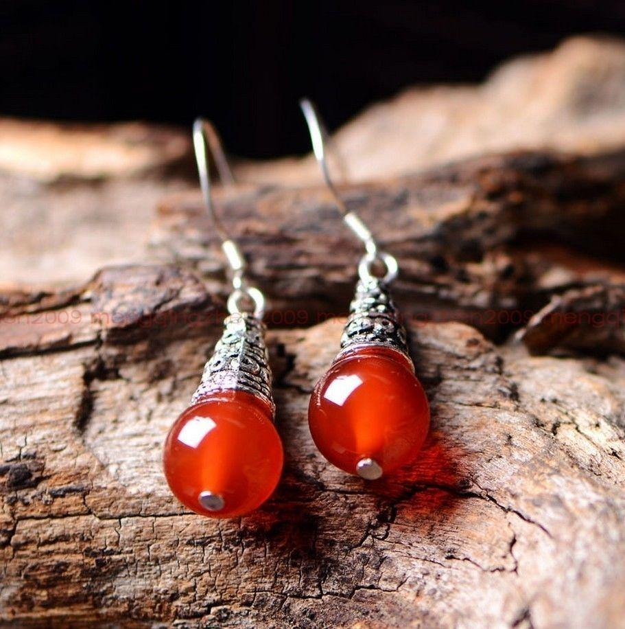 Agate & Tibetan Silver Earrings