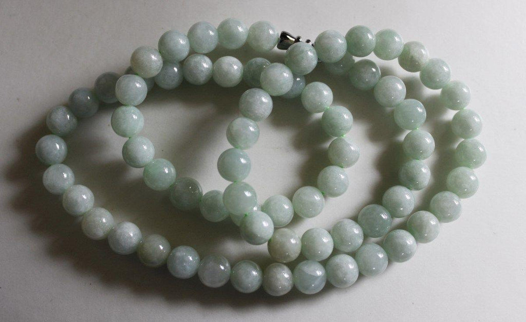 Jade Necklace - Rare Burmese Light Green Jadeite 8mm bead Necklace