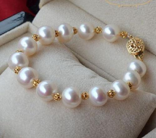 Pearl Bracelet - White South Seas - 14K Spacers and Clasp - Pisces Secrets LLC