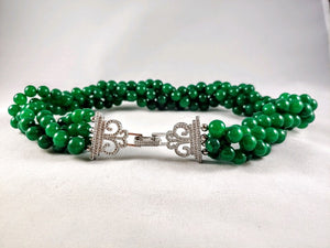 Emerald Necklace - 4 strands - 1,200 CTS - Zircon clasp