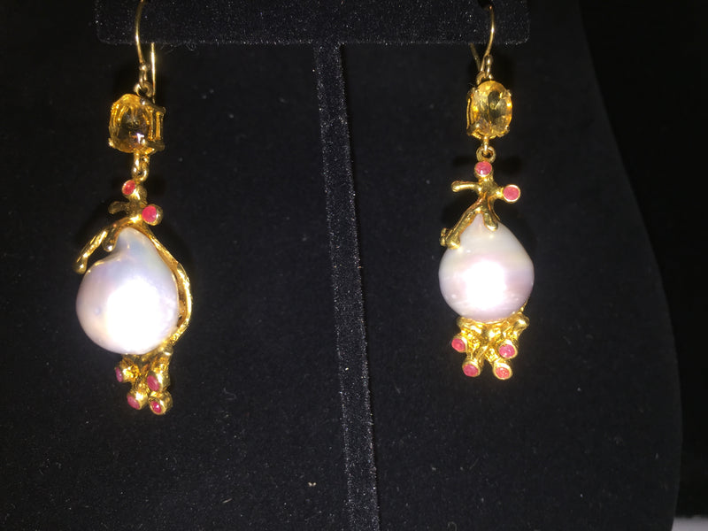 Pearl-Citrine-Ruby Baroque Earrings - Unique 1 of a kind Treasure
