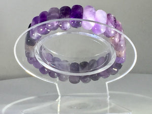 Amethyst Natural AAA Purple Amethyst Adjustable Beaded Bracelet