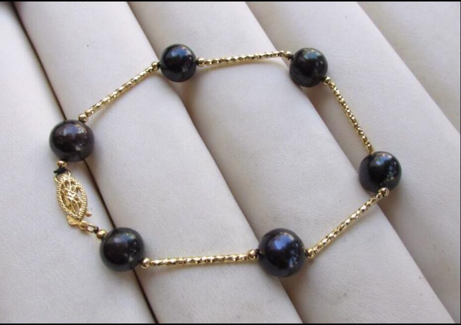 South Seas Black Pearl Bracelet - 14KT Yellow Gold Clasp