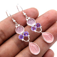 Rose Quartz Earrings with Amethyst