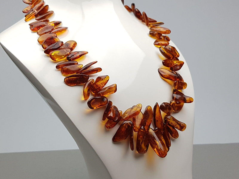 Amber Statement Necklace - Natural Cognac Vintage Baltic Amber Necklace