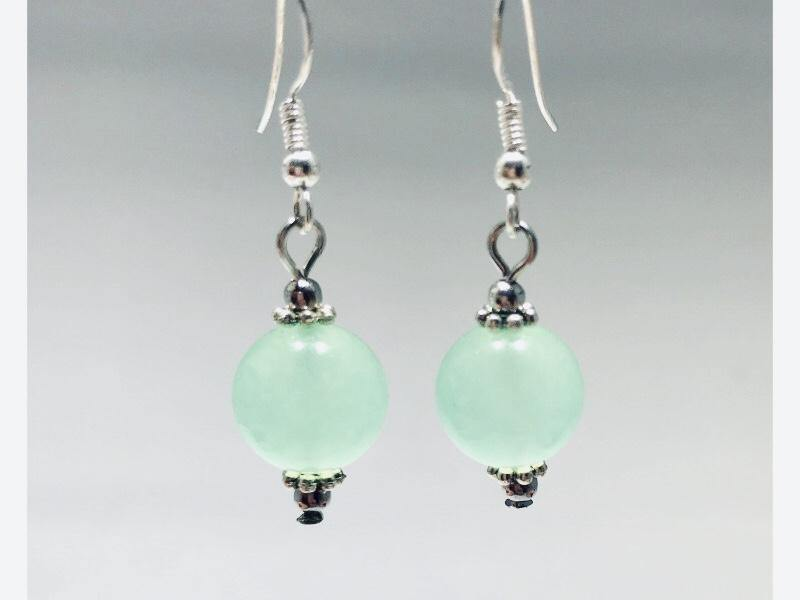 Jade Earrings in Authentic Tibetan Silver