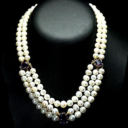 Pearl Necklace (with 3 HUGE Amethyst Oval Stations) - Pisces Secrets LLC