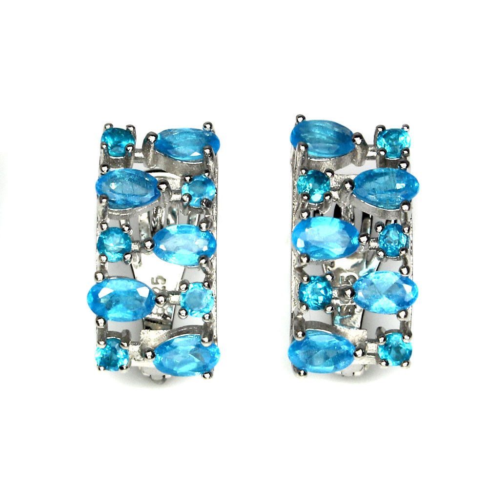 Apatite - Neon Blue Earrings with French Clip - Pisces Secrets LLC