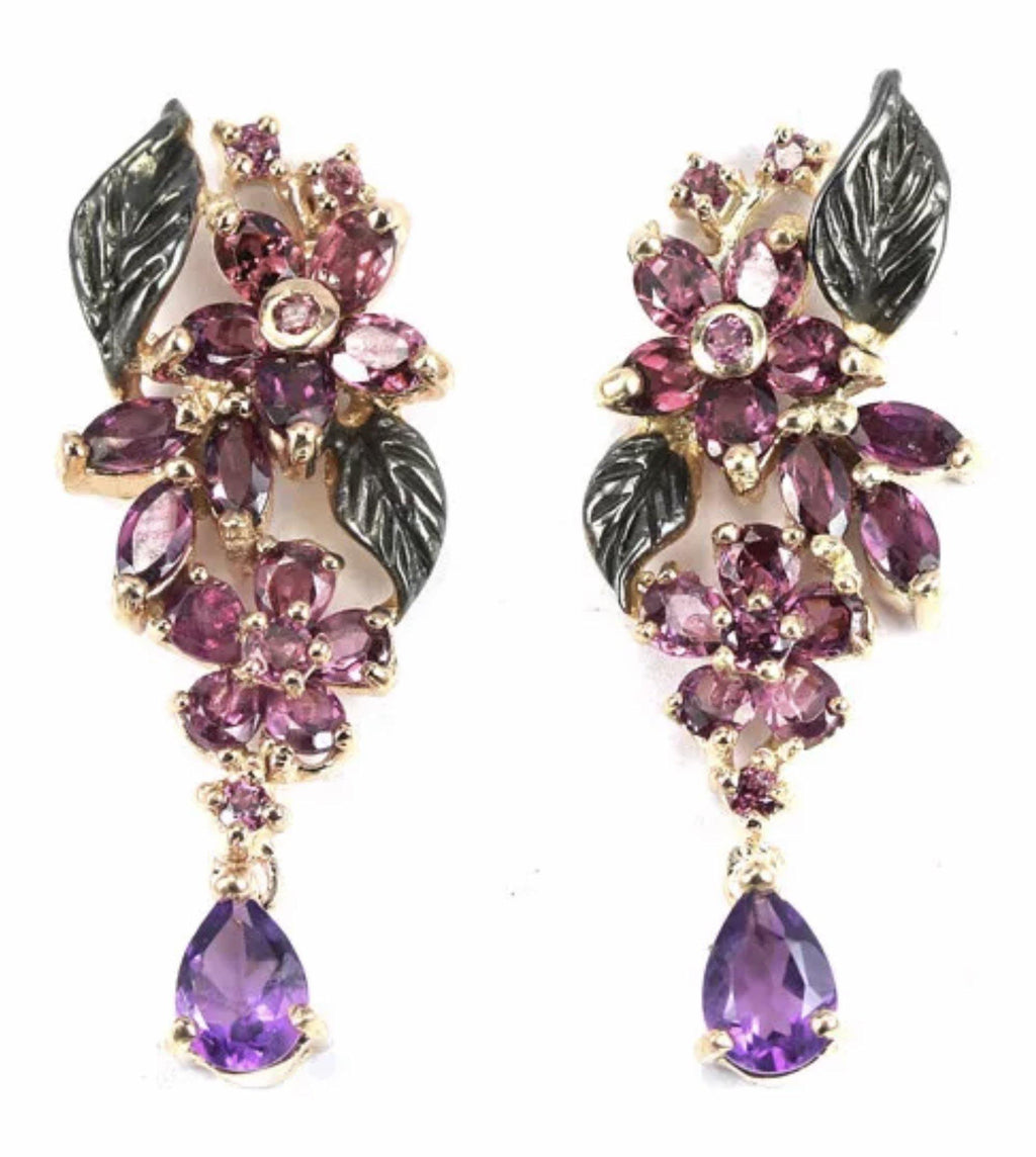 Amethyst and Rhodolite Garnet Earrings Set in 925 Sterling Silver