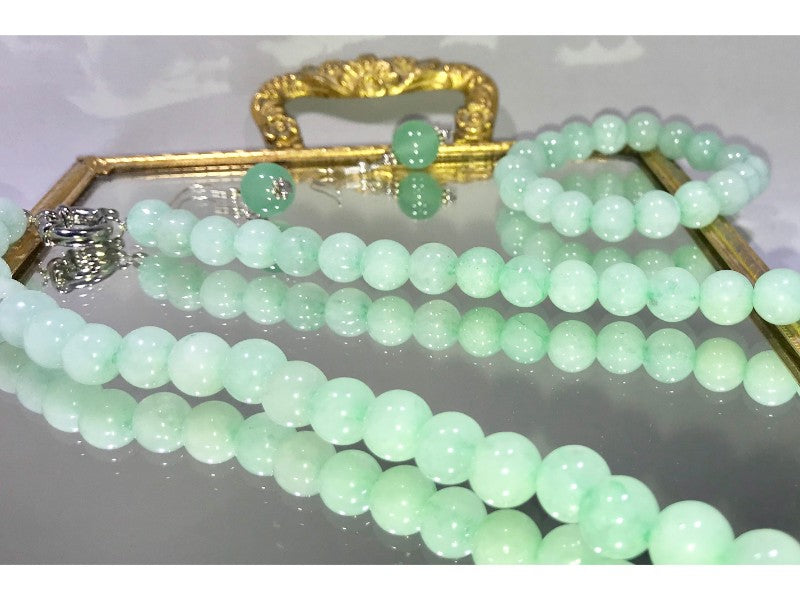 Jade Bracelet, Jade Necklace and Jade Earrings Set - Pisces Secrets LLC