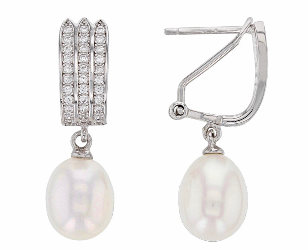 Pearl - White Baroque Earrings with Zircon French Clip - Pisces Secrets LLC