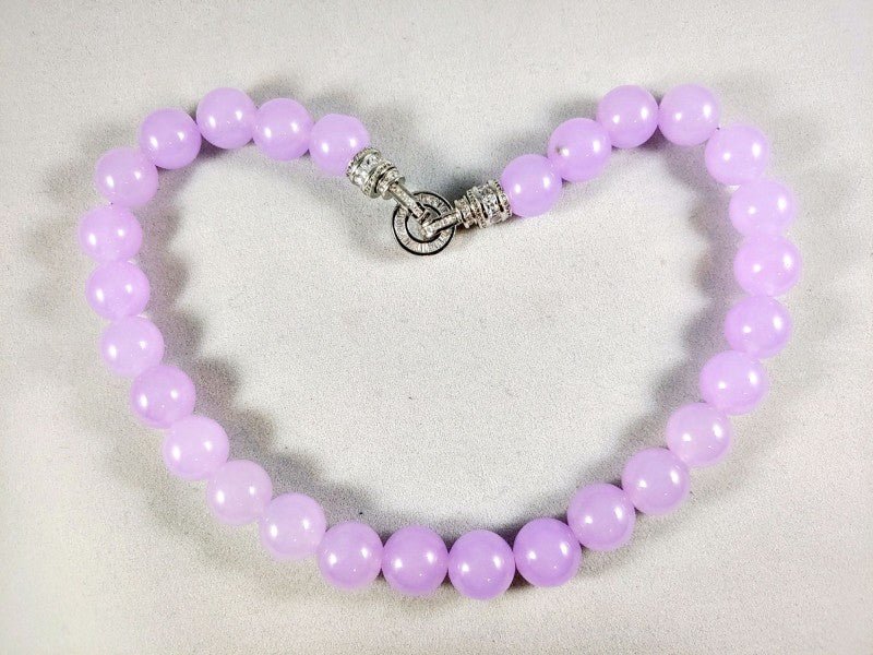 Lavender Jade Necklace with brillant Zircon Clasp