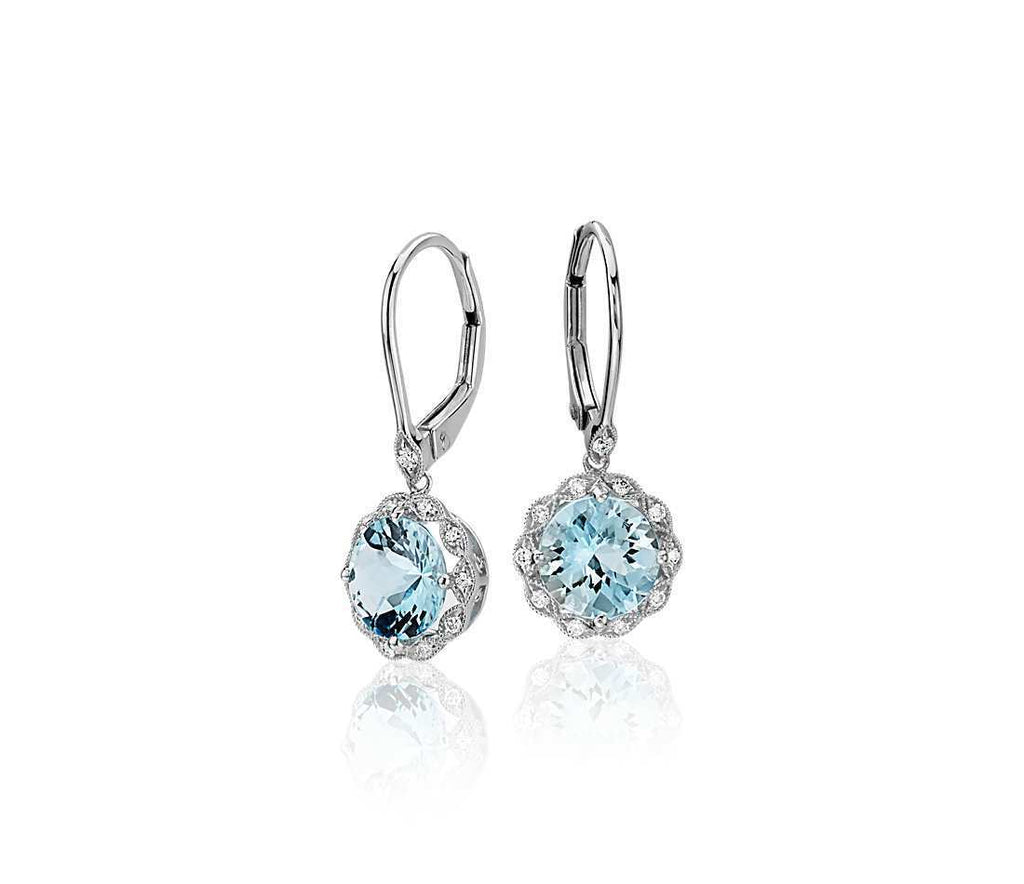 Aquamarine and White Topaz Earrings