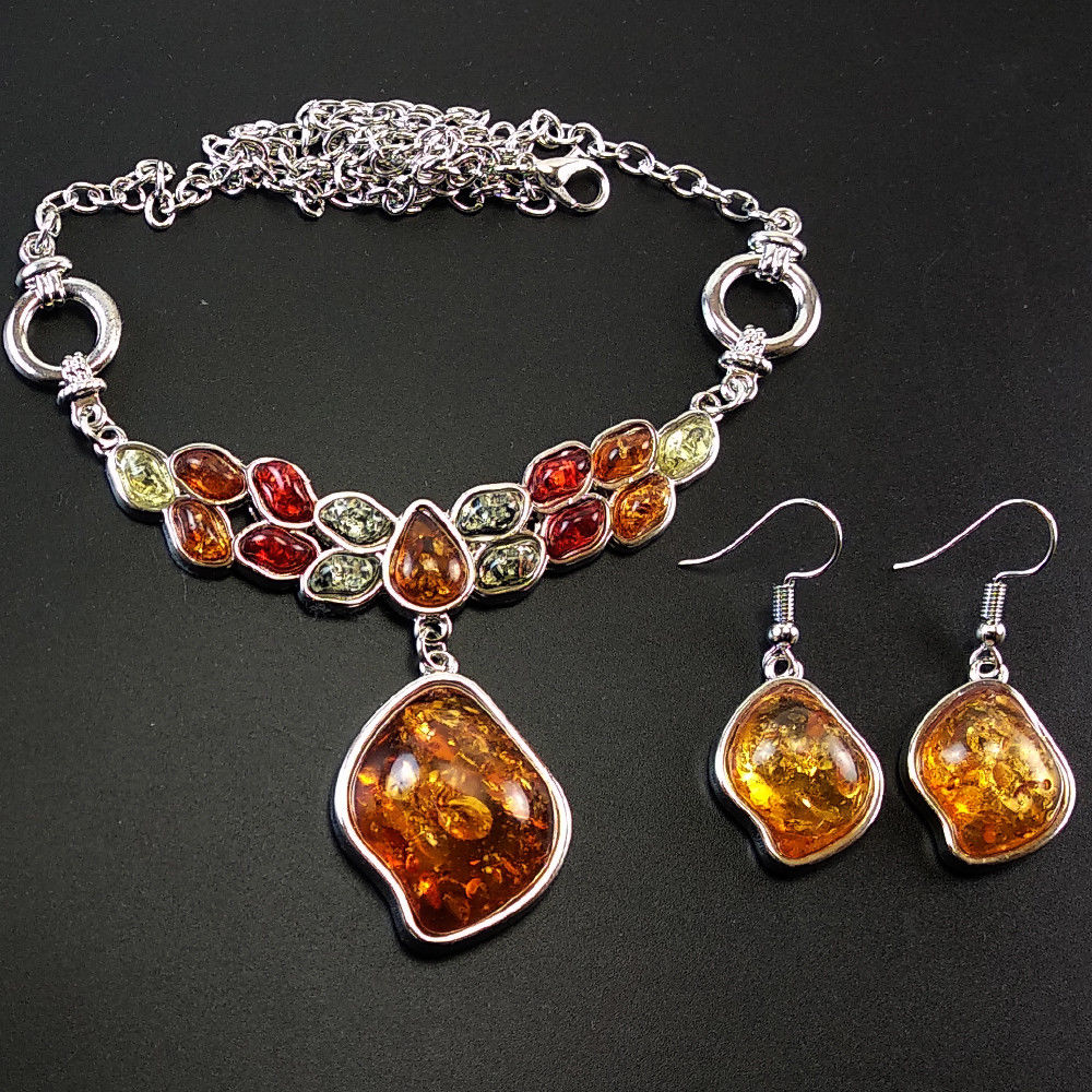 Baltic Amber Necklace and Earring Set