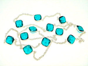 Apatite - RARE BLUE GREEN Apatite Beautiful Station, 36 inch  Necklace