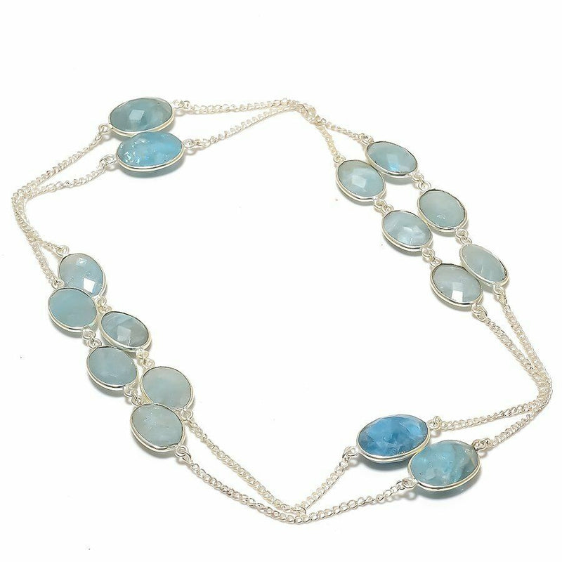 Aquamarine Rough and Faceted Stone Necklace
