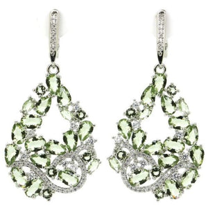 Green Amethyst Earrings - Spectacular Large Pear Shaped