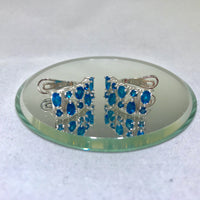 Apatite - Neon Blue Earrings with French Clip