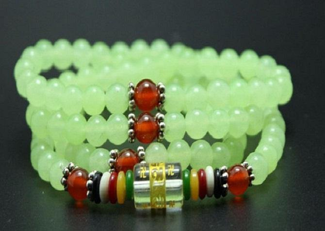Jade Bracelet - Lucky Buddhist Brilliant Pale Green Bracelet/Necklace