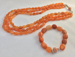Carnelian Carved Bead Bracelet and Necklace Set