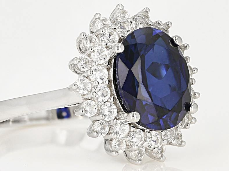 Sapphire Ring - Blue Oval Sapphire with White Sapphire Double Halo
