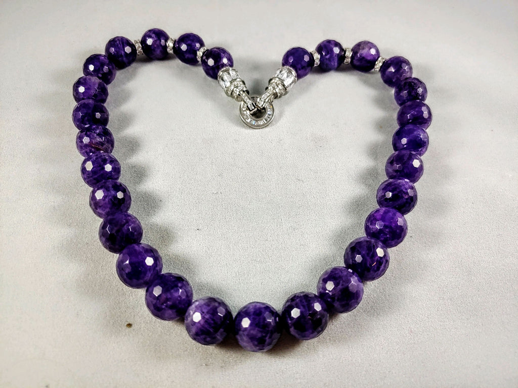 Amethyst FACETED Bead 18 inch Necklace  with 925 SS Bling Stations