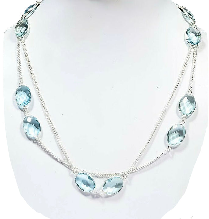 Aquamarine Crystal 925 Sterling Silver Gorgeous Necklace