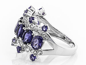 Iolite and White Zircon Ring - size 7
