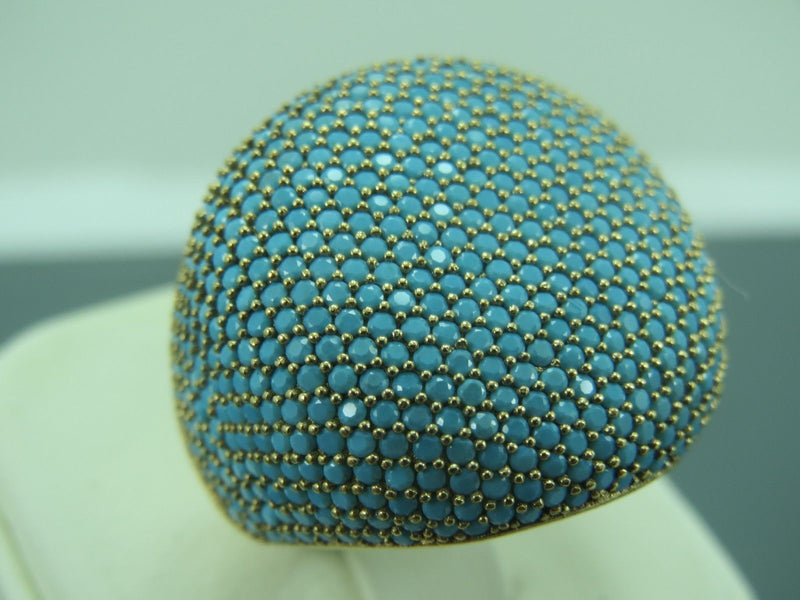 Turquoise Ring (Handmade Sleeping Beauty Turquoise Pave size 7 Ring)